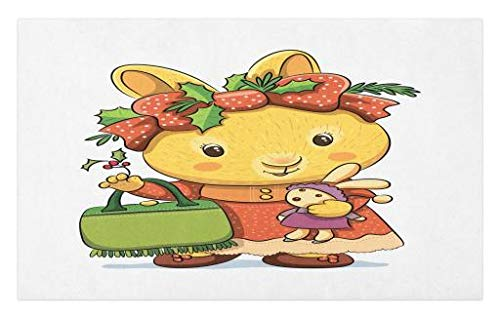 Lunarable Rabbit Doormat, Happy Rabbit Carrying Toy Bunny Dressed as a Girl Handbag with Holly Flower Headband, Decorative Polyester Floor Mat with Non-Skid Backing, 30 W X 18 L inches, Multicolor