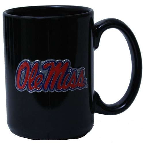 Great American Products Mississippi Ole Miss Rebels 15oz Black Ceramic Mug ()