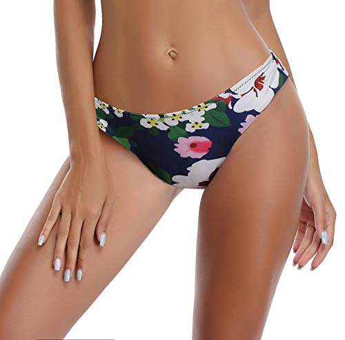(SHEKINI Womens Bathing Suits Floral Printing Swim Bottoms Padded Halter Bandage Bikini Two Piece Swimsuits (Deep Blue - Bottom, Small))
