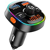 Bluetooth FM Transmitter for Car, TEUMI 7 Color Ambient Light with Breathing Mode