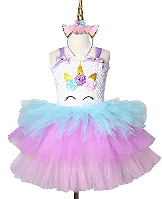 f4282e14cb81d Daddy's Angel - Girls Unicorn Tutu Dress Pastel Rainbow Princess ...