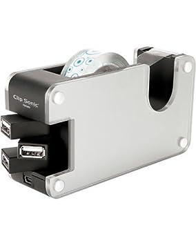 Clipsonic-Hub de 4 puertos 2,0 USB-Dispensador de cinta adhesiva