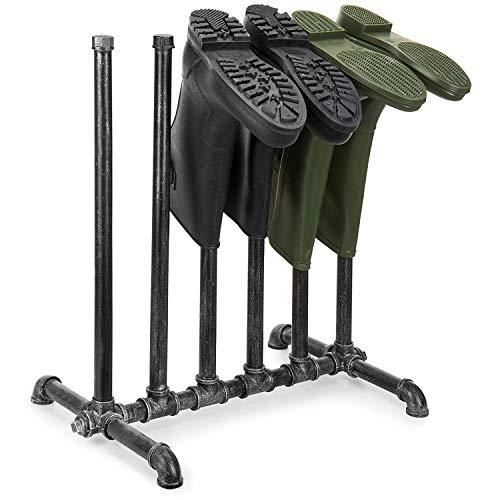(Hunter Garden Crafts Black Metal Industrial Pipe-Style Inverted 3-Pair Tall Boot Stand)