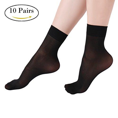 Sheer Ankle Socks (Women's Ankle High Sheer Socks 10 Pairs Fossrin Crystal Silky Sheer Socks for Women ( 5 Black, 5 Nude))
