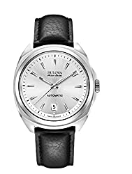 Bulova Accu Swiss 63B184 Mens Accu Swiss Black Leather Strap Watch
