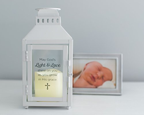 Glass Candle Confirmation (The Grandparent Gift Light and Love Lantern Baptism Keepsake for Baby to Adult, White)
