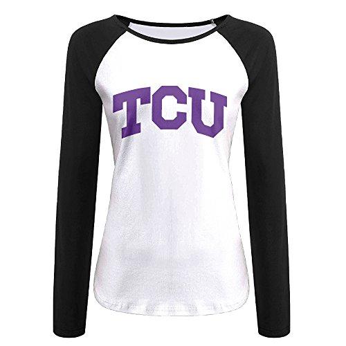 Creamfly Womens Texas Christian University TCU Long Sleeve Raglan Baseball Tshirt S