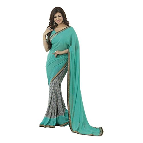 Georgette blue Export Striped Handicrfats Indian Daily Wear Saree q5XE0w