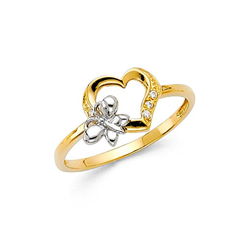 Paradise Jewelers 14K Solid Yellow Gold Butterfly Heart Cubic Zirconia Fancy Ring, Size 7