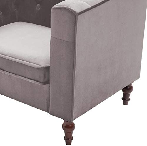 Festnight Fauteuil avec Revêtement en Velours pour Salon, Bureau ou Chambre à Coucher 86 x 67 x 71 cm Gris