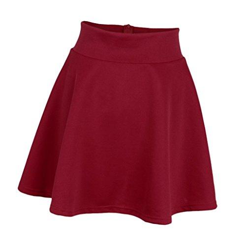 P Prettyia Femmes Rtro Jupe Basique Plisse Patineuse Fille Elastique Court Midi Jupe Multi couleurs Bourgogne