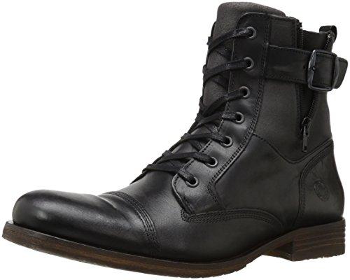 Steve Madden Men's Saxonn Combat Boot, Black Leather, 10 M US (Madden Boots For Man)