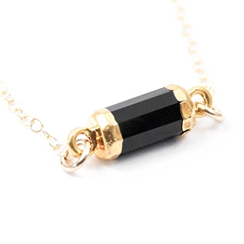 Trapeze Costumes Women (Black Spinel Barrel Charm 14kt Gold Filled Necklace - 17 inches Long Handmade Necklace by Miller Mae Designs)