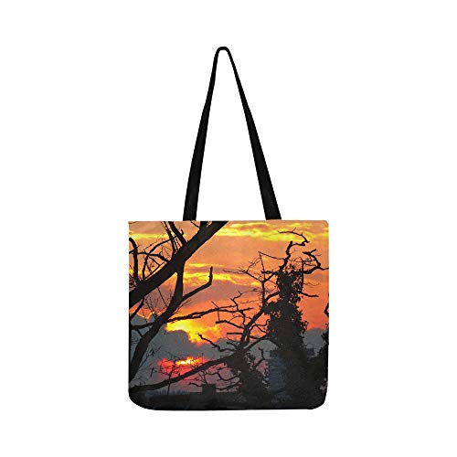 Sunset Sun Sky Shining Burn Glow Silhouette Canvas Tote Handbag Shoulder Bag Crossbody Bags Purses For Men And Women Shopping Tote (Saint Laurent Monogram Leather Cross Body Bag)