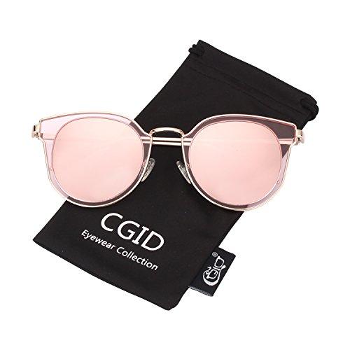 Miroir Double de Mode Or Lunettes soleil Lentille Femme UV400 Polarisées Cercle CGID MJ86 Rose 16T0wq0Z