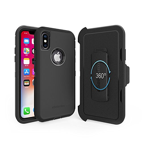 iPhone X Case,eSellerBox,Heavy Duty Rugged Multi-Layer Hybrid With [Kickstand] [Belt Clip] bumper Holster Protective Case Cover For Apple iPhone X - Glass Tempered Polycarbonate Vs
