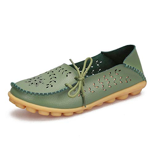 Women Genuine Leather Shoes Woman Flexible Round Toe Nurse Casual Loafer,Army Green,5.5 (Green Bowling Store Apple)