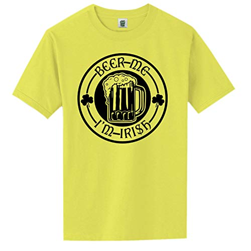(ZeroGravitee Beer Me I'm Irish Neon Yellow Short Sleeve T-Shirt - Large)
