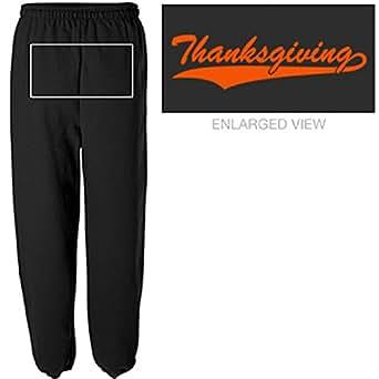 Thanksgiving Back Print: Unisex Canvas Long Scrunch Sweatpants