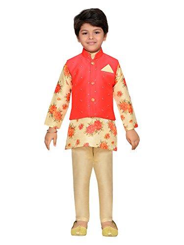 AJ Dezines Kids Indian Wear Bollywood Style Kurta Pyjama Waistcoat for Boys (638-GAJRI-9) by AJ Dezines