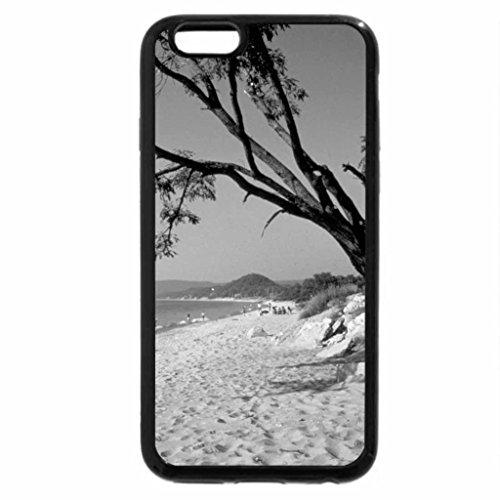 iPhone 6S Case, iPhone 6 Case (Black & White) - Sandy beach and tree