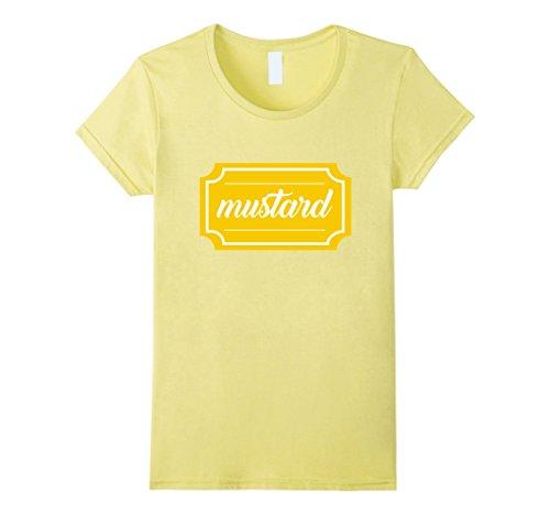 Women's Mustard Shirt, Funny Condiment Matching Halloween Costume Large Lemon (Ketchup And Mustard Costume)