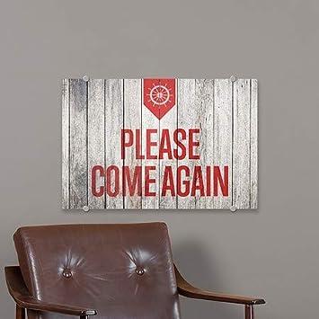 Nautical Wood Premium Acrylic Sign 18x12 5-Pack Please Come Again CGSignLab