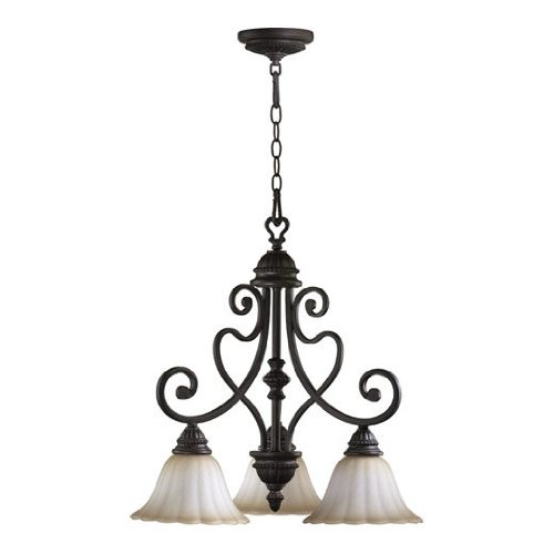 (Quorum International 6326-3-44 Chandeliers with Antique Amber Scavo Shades, Toasted Sienna )