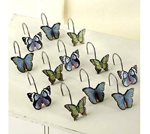 AK Energy Set of 12 Beautiful Butterfly Themed Design Bathroom Ceramic Shower Curtain Hook