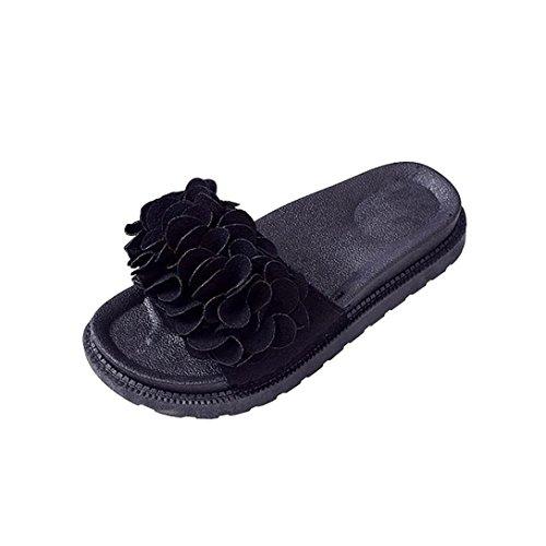 Culater® carré 38 Noir Pantoufles à Rose bout Bow Sandales Femmes 5 EU Slips Chaussures d'été Suede Sandales RaArR