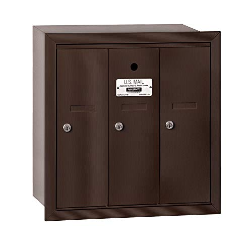 - Salsbury Industries 3503ZRU Recessed Mounted Vertical Mailbox with USPS Access and 3 Doors, Bronze