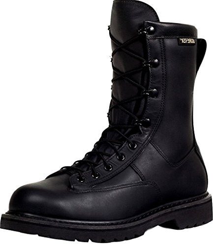 Rocky Men's 9'' Duty Work Boots, Black Leather, 12 W 9' Leather Combat Boot