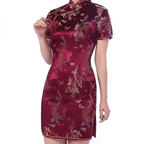 Highdas Mujeres de China Qipao Partido del Vestido del Cheongsam del Vestido de Noche de las Mujeres del Vestido de 5 Colores vino tinto