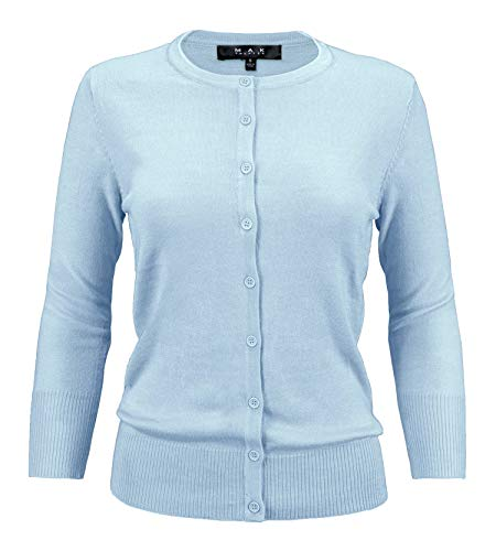 YEMAK Women's 3/4 Sleeve Crewneck Button Down Knit Cardigan Sweater CO079-SBL-S Sky Blue