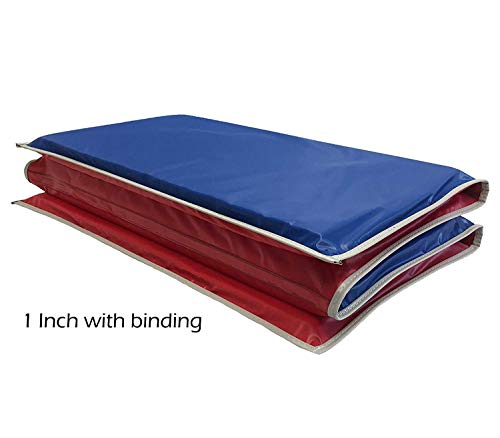 - KinderMat 1 Inch Rest Mat with Gray Binding, Red/Blue, 5 mil Vinyl