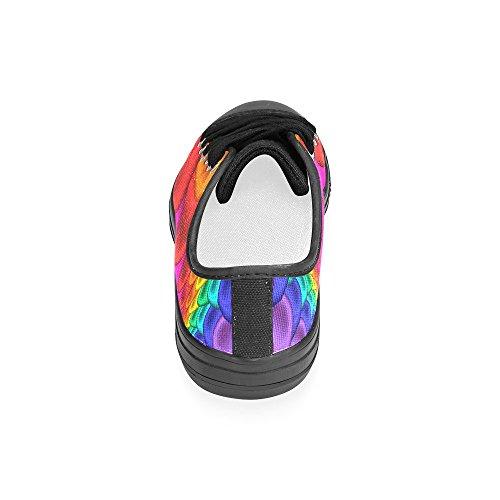 Artsadd Psykedelisk Rainbow Spiral Tilpasset Lerret Sko For Kvinner Model018 (2015 Ny Ankomst)