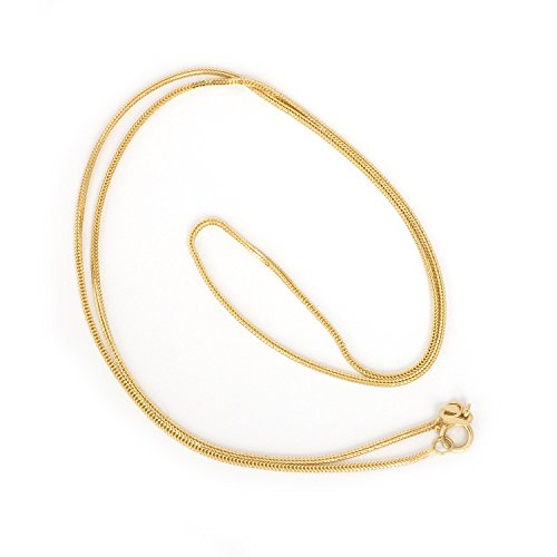 Beauniq 14k Yellow Gold 0.8mm Square Wheat Foxtail Chain Necklace, 16
