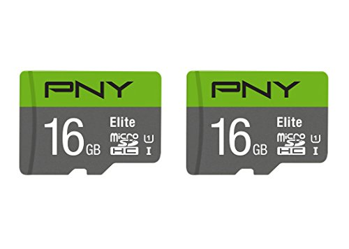PNY 16GB Elite Class 10 U1 microSDHC Flash Memory Card 2-Pack (P-SDU16GX2U185GW-GE)