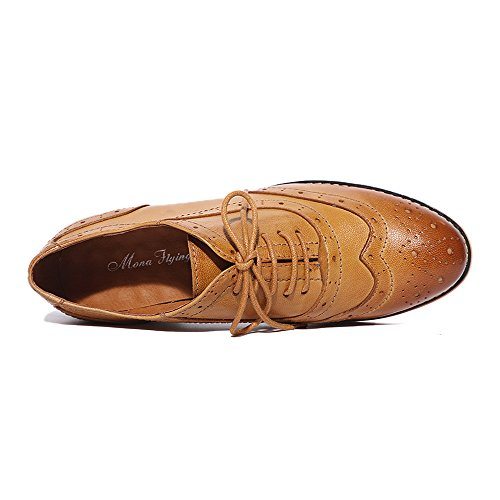 Pictures of Mona Flying Leather Perforated Lace-up Oxfords 7