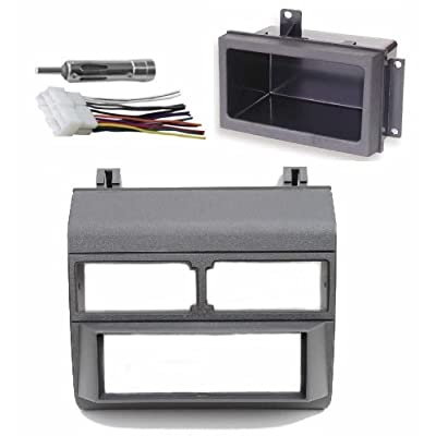 1988-1996 Gray Chevrolet & GMC Complete Single Din Dash Kit + Pocket Kit + Wire Harness + Antenna Adapter. (Chevy - Crew Cab Dually, Full Size Blazer, Full Size Pickup, Suburban, Kodiak) (GMC - Crew Cab Dually, Full Size Pick