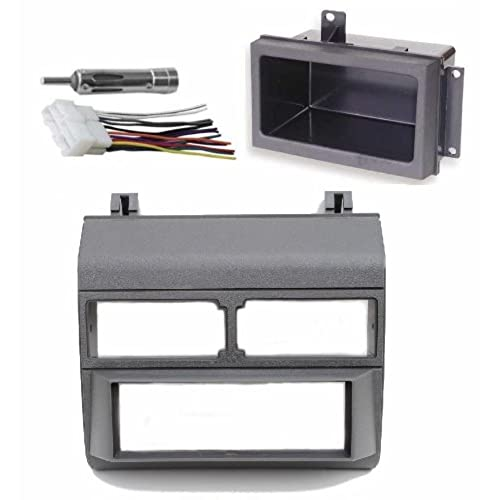 1988-1996 Gray Chevrolet & GMC Complete Single Din Dash Kit + Pocket Kit + Wire Harness + Antenna Adapter. (Chevy - Crew Cab Dually, Full Size Blazer, ...