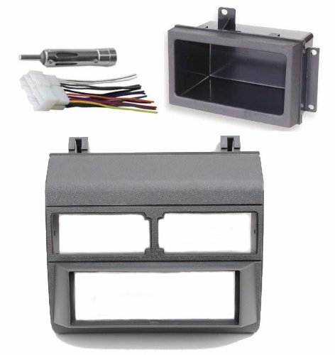 1988-1996 Gray Chevrolet & GMC Complete Single Din Dash Kit + Pocket Kit + Wire Harness + Antenna Adapter. (Chevy - Crew Cab Dually, Full Size Blazer, Full Size Pickup, Suburban, Kodiak) (GMC - Crew Cab Dually, Full Size Pickup (Wire Harness Gmc Crew Cab)