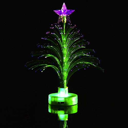 (Allywit Christmas Merry Mini LED Color Changing Xmas Tree Charm Nightlight Desk Bedroom Decoration Lamp for Bedroom, Home, Party Decor, Kids/Baby/ Nursery Bedroom Gift (Green))