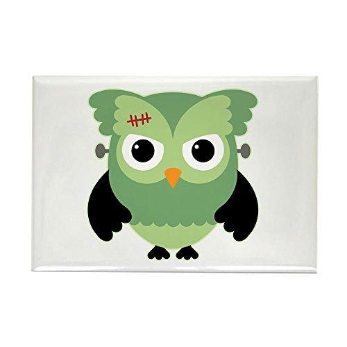 (Rectangle Magnet Spooky Little Owl Frankenstein Monster)