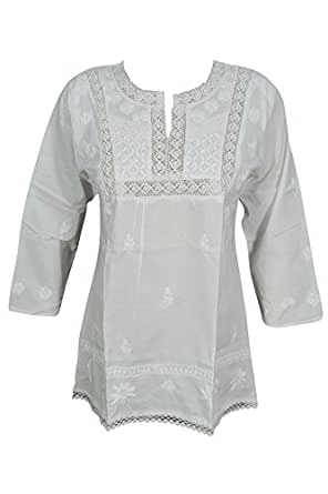 Bohemian Chic Designs Womens Tunic Top White Hand Embroidered Cotton Boho Summer Blouse Tops Bikini Cover Up S
