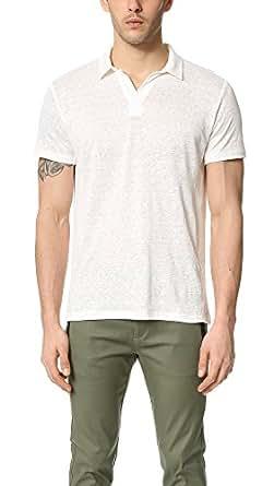 Vince Men's Linen Short Sleeve Polo Shirt, Linen White, Large