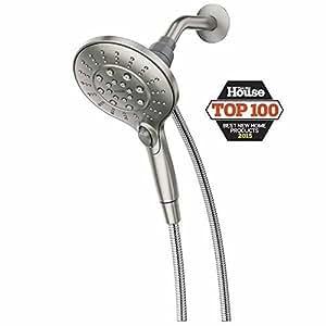 "Moen 26112SRN Six-Function 5.5"" Diameter Spray Head Handshower Showerhead, Spot Resist Brushed Nickel"