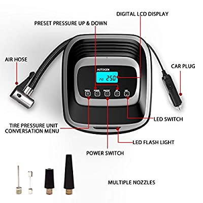 AUTOGEN Air Compressor Tire Inflator, Tire Inflator with Gauge 12V DC Digital Car Air Pump 120PSI with LED Light Extra Nozzle Adaptors for Car, Bicycle, Motorcycle and Other Inflatables: Automotive