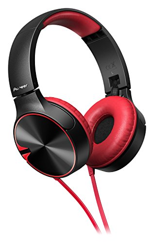 Pioneer SE-MJ722T-R bassstarker stylischer On-Ear-Kopfhörer optimiert für Android/Apple Smartphone rot