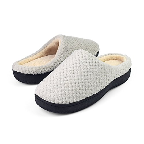 Light Slippers Comfort Coral Women's Sakuracan on Lining Outdoor Foam Indoor Shoes Plush Slippers House Grey Gridding Clog Memory Slip qFET8T
